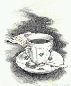 cafe dibujos espuma