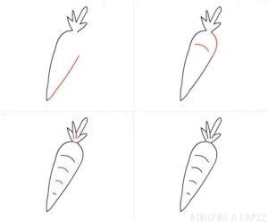 como dibujar una zanahoria