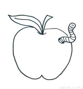 silueta de manzana