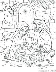 imagenes del nacimiento del niño jesus para colorear