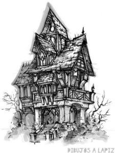 casa encantada para colorear