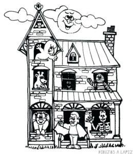 dibujo casa encantada