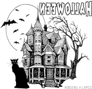dibujos de casas encantadas de halloween