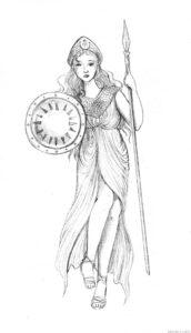 dibujo diosa atenea