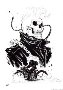 dibujos de ghost rider faciles