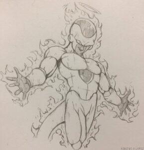 dibujos de goku peleando con freezer