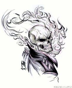 dibujos del vengador fantasma faciles