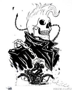 ghost rider dibujo a lapiz