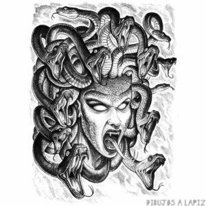 dibujo de medusa mitologia griega para colorear