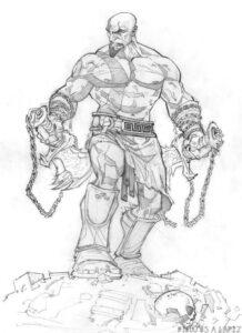 dibujos de kratos para dibujar