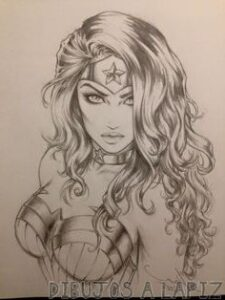 dibujos de la mujer maravilla a lapiz