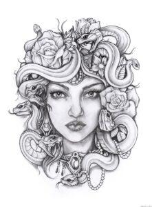 dibujos de la mujer medusa