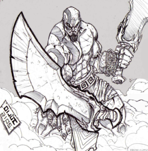 dibujos pixelados de kratos