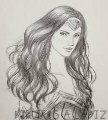 la mujer maravilla en dibujo